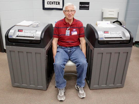 Poll worker Dick Johnsen sits between two voting machines during a brief quiet time during the election at Bethany Reformed Church Tuesday November 8, 2016 in Sheboygan.