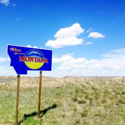 """A """"Welcome to Montana"""" highway sign, located on the Montana-Wyoming Line near Decker."""