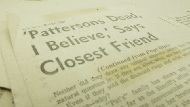 Newspaper clippings about the 1957 disappearance case of the Pattersons.