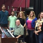 "The cast of ""A Grand Night for Singing"" is shown in rehearsal: left to right, Asher Pacht, Sean Dickinson, Jenn Propfe, Emily Woolever and Alexandra Haines. Joel Flowers is at the piano."