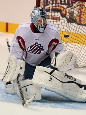 File photo: Amerks goalie Nathan Lieuwen made 26 saves in regulation and overtime, and was 7-for-7 in the shootout.