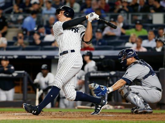Sep 28, 2017; Bronx, NY, USA;  New York Yankees right