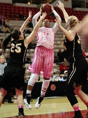UL's Simone Fields (32) puts up a shot against Appalachian State in an NCAA women's basketball game Thursday, February 5, 2015, at the Cajundome in Lafayette, La.