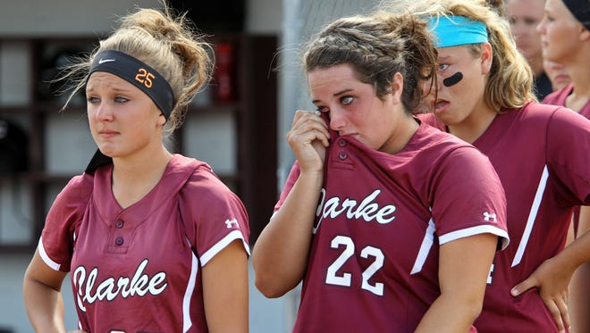 Clarke of Osceola moved into the No. 1 spot in the state's softball rankings. Kennedy Crees (left) and Carley Robins played on last year's Class 3-A state runner-up team.