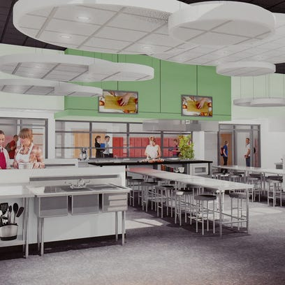 A rendering of a new culinary arts lab proposed for