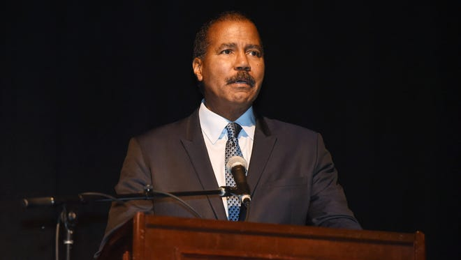 Bill Whitaker, a 60 Minutes correspondent, gives the keynote speech Jan. 20, 2017, at the 26th Annual Martin Luther King Jr. Breakfast at the Mid-Hudson Civic Center in the City of Poughkeepsie.