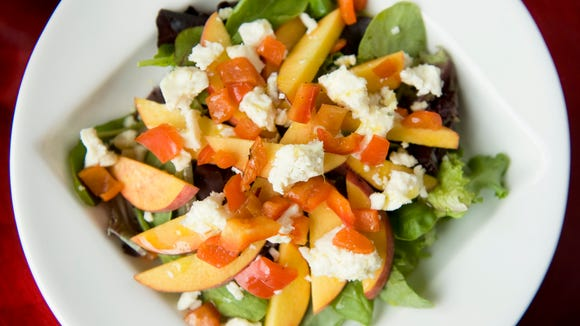 Peach salad from a past Farm to Fork Menu at Anthony's Creative Cuisine in Haddon Heights.