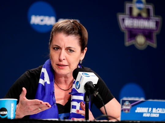FILE - In this Friday, March 23, 2018, file photo, Duke head coach Joanne P. McCallie speaks during a news conference at the NCAA women's college basketball tournament in Albany, N.Y. Coach McCallie has faced three of the four women's Final Four participants this season. (AP Photo/Frank Franklin II, File)