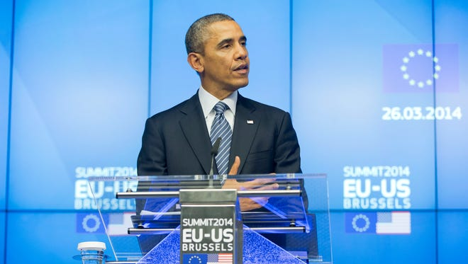 President Obama speaks during a news conference at the EU-U.S. summit meeting on  March 26 at the EU Council building in Brussels.