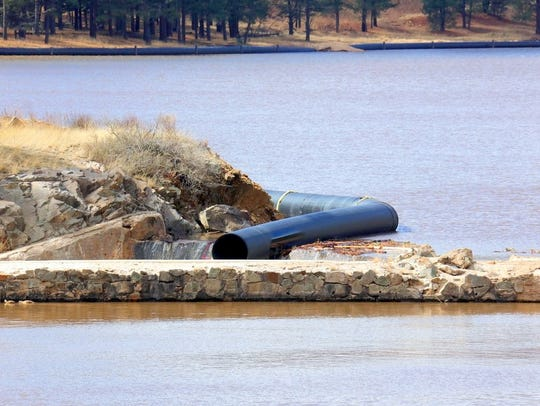 The diversion pipe two weeks ago drained water from