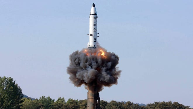 A North Korean Pukguksong-2 missile launches in a photo distributed in May.