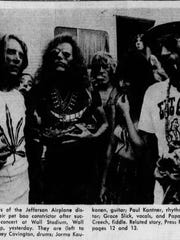 Members of the Jefferson Airplane and their pet boa constrictor after their Wall Stadium show in August 1971.