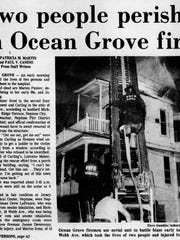 Asbury Park Press story on fatal fire in Ocean Grove