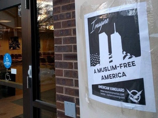An anti-Muslim poster at a Rutgers University building