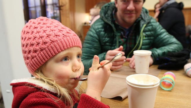 Chris Scuccimarra and his daughter, Hadely of Poughquag during Saturday's Hot Chocolate Festival at Crown Maple in Dover Plains on Jan. 6, 2018.