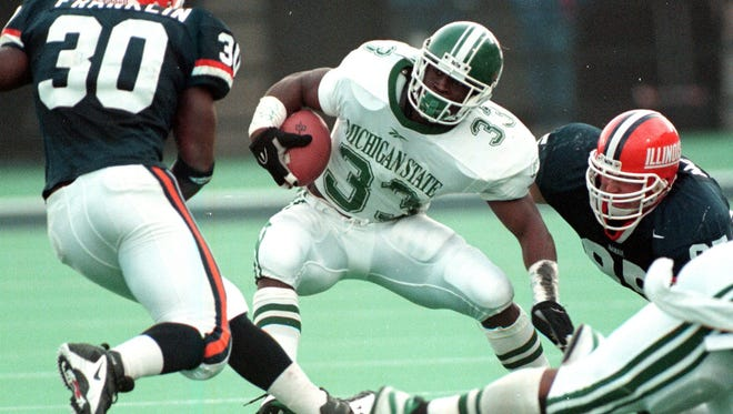 Sedrick Irvin juked and weaved his way to more than 1,000 yards in each of his three seasons at Michigan State in the late 1990s.