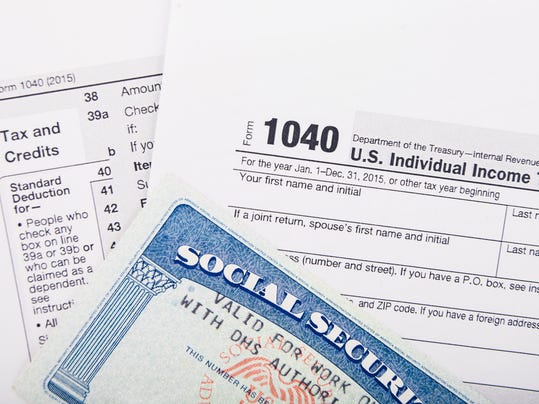 Tax return form and SSN card