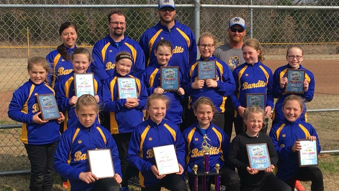 The Mountain Home Bandits 10-and-under softball team finished second at the ASE Cabot March Softball madness Tournament over the weekend in Cabot. Seven teams played in the division. Team members are: first row, from left, Daelyn Harper, Jenna Rula, Scarlett Owens, Ryleigh Spence, Gracyn Jackson; second row, Paige Meis, Kayden Dunn, Emma Reynolds, Maggie Manes, Rylee Morris, Emma King, Madison Williams; third row, coaches Daphne Harper, Dan Nagy, Aaron Morris and Matt King.