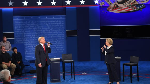 Hillary Clinton and Donald Trump during the second