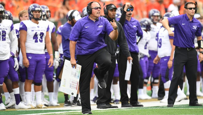 ACU coach Adam Dorrel reacts to play on the sideline during the Wildcats' game against Colorado State. CSU beat the Wildcats 38-10 in the nonconference game Saturday, Sept. 9, 2017 in Fort Collins, Colorado.