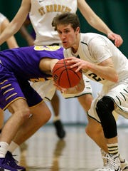 St. Norbert College guard Ben Bobinski (22) is averaging 13.6 points and 4.6 rebounds per game this season.