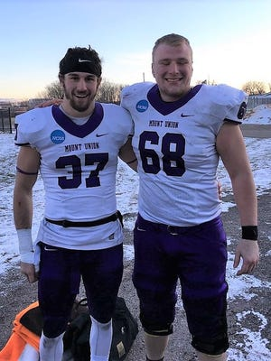Nick Brish (left) and Brendan Klaus of Brighton will start for Mount Union in the NCAA Division III football championship game Friday in Virginia.