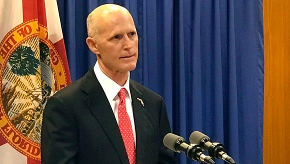 Florida Gov. Rick Scott speaks in Tallahassee on April