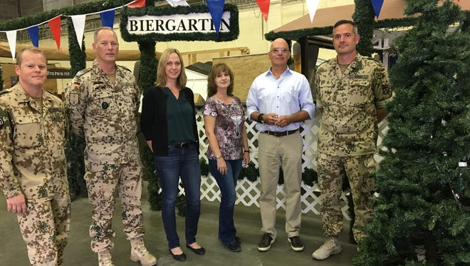 Members of the German community at Fort Bliss are organizing two Christmas shopping events for charity. Some of the organizers are from left: Senior Master Sgt. Markus Weber, Lt. Col. Alex Graf, Katja Mueller, Vera Gibson, Hans-Albert Schuettig and Senior Master Sgt. Soeren Wiebe.