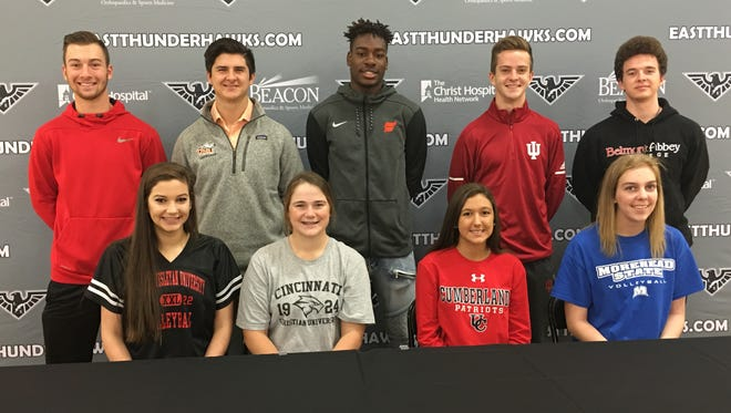 The following Lakota East athletes announced their intention to continue sports in college Nov. 8, 2017. They are, from left: Front, Ariel Swain, Indiana Wesleyan volleyball; Natalie Hamilton, Cincinnati Christian University golf; Corrine Haverland, University of the Cumberlands softball; Hannah Keating, Morehead State volleyball; back, Dylan Smith, Miami Hamilton baseball; Nicholas Edkins, Ohio Northern lacrosse; Jarrett Cox, Fairmont State basketball; Dustin Horter, Indiana University cross country and track; and Benjamin Sabelhaus, Belmont Abbey College lacrosse.
