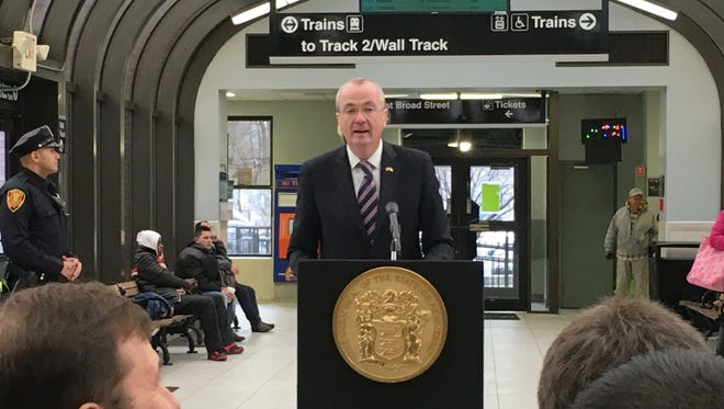 Gov. Phil Murphy at the Summit train station on Jan. 22, 2018.