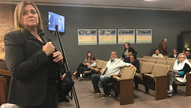 Wendi Brown, who was hired by the city of Oxnard to recruit a city manager, listens to public comment during an Inter-Neighborhood Council Organization meeting on Thursday.