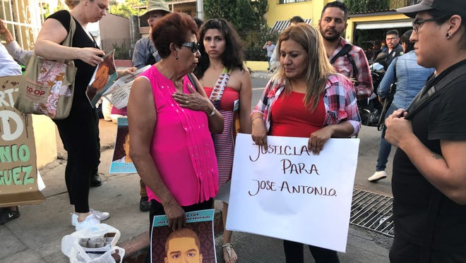 Grandmother Taide Elena, left, and mother Araceli Rodriguez, right, led a march through downtown Nogales, Sonora on May 10, 2018, asking for a retrial of the Border Patrol agent that killed Jose Antonio Elena Rodriguez.