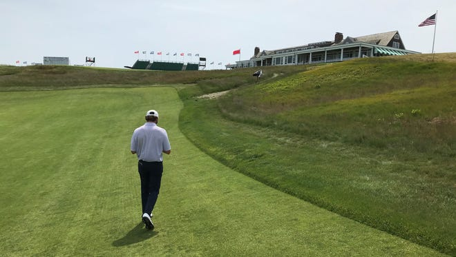 Philip Barbaree Jr. walks up No. 9 at Shinnecock Hills in preparation for the U.S. Open.
