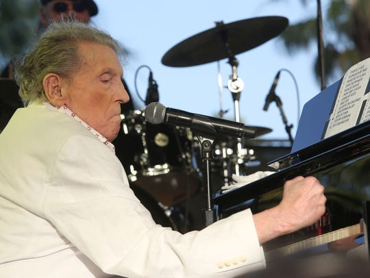 Apr 28, 2017; Indio, CA, USA; Jerry Lee Lewis performs