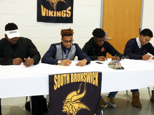 South Brunswick High School's reigning CJG5 championship team signing their National Letters of Intent to play college football Dillon Donaldson (Wagner University), Wendell Allen ( Monmouth University), Phil Campbell (University of Pittsburgh) and Mohamed Jabbie (Rutgers University) on Wednesday February 3, 2016.