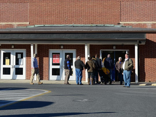 People line up out the door at Lord Baltimore Elementary