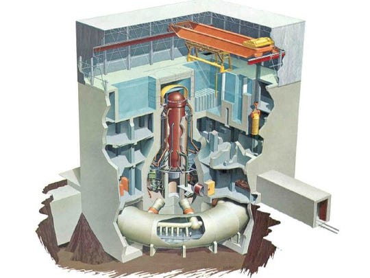 A Mark 1 reactor containment building, like the one at Oyster Creek Generating Station, is shown in this artist's rendering.