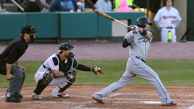 Nick Swisher hits a two-run double in the 3rd inning on a rehab assignment with Columbus as they play the Red Wings.