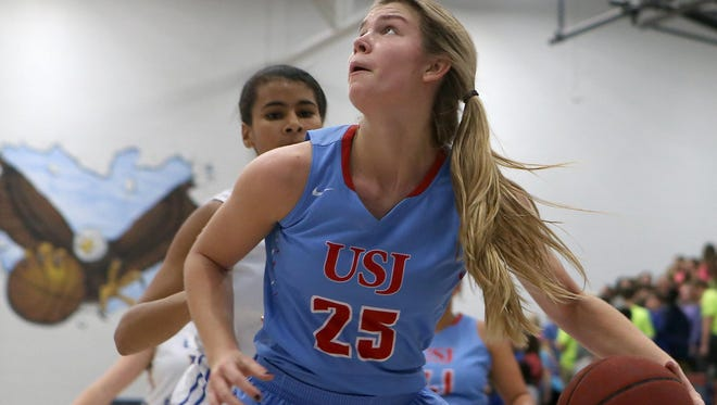 University School of Jackson's Anna Jones (25) eyes the basket against Jackson Christian at Jackson Christian, on Tuesday, Dec. 8, 2015.