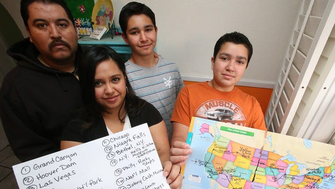 Brothers Max Moreno, 13, right, and Levi Moreno, 15, center, will go on a 3-week road trip next summer with parents Jennifer and Alejandro Zamudio. Two other younger siblings will go as well. The Moreno brothers share a rare disorder that will ultimately deprive them of their eyesight.