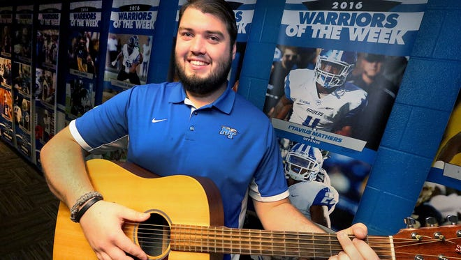 MTSU's football player Hunter Rogers also plays music on the side. Photo taken, on Wednesday Nov. 30, 2016.