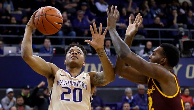 Huskies guard Markelle Fultz, left, returned from a two-game absence Thursday and scored 19 points against Arizona State, but it wasn't quite enough in an 83-81 defeat.