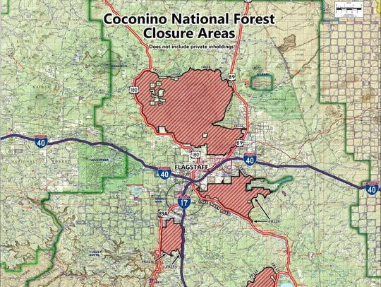 Coconino National Forest closure areas