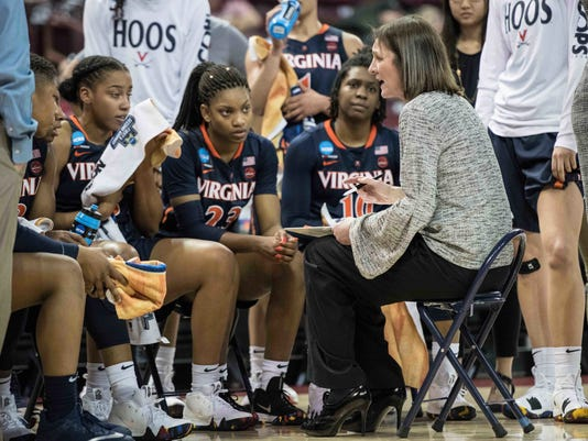 Virginia head coach Joanne Boyle talks with her team during the second half of game in the first-round of the NCAA women's college basketball tournament, Friday, March 16, 2018, in Columbia, S.C. Virginia defeated California 68-62. (AP Photo/Sean Rayford)
