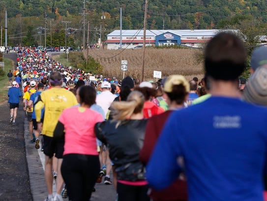 Approximately 2,700 Wineglass Marathon runners head