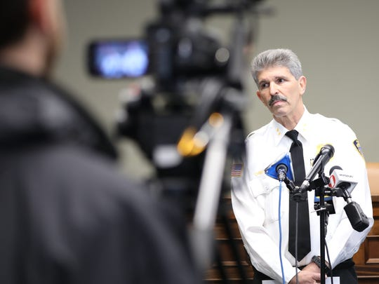 Irvington police Chief Michael Cerone discusses a stabbing at River City Grille during a press conference in Irvington April 10, 2018. A woman stabbed a male co-worker multiple times, police said.