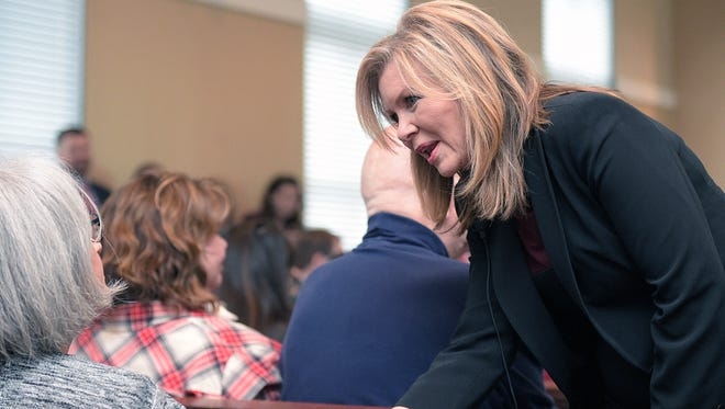 Rep. Marsha Blackburn greets people before her Town Hall meeting at City Hall in Fairview, Tenn., Tuesday, Feb. 21, 2017