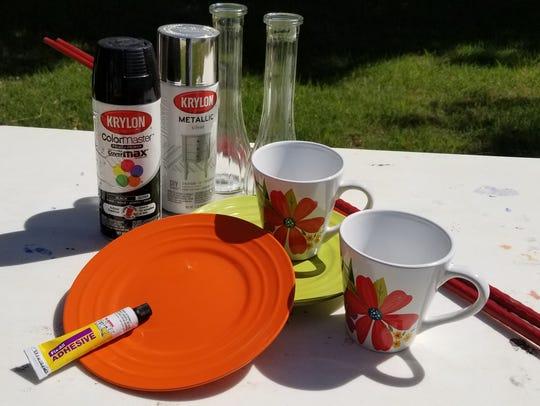 Materials needed for mug bird feeders include old coffee
