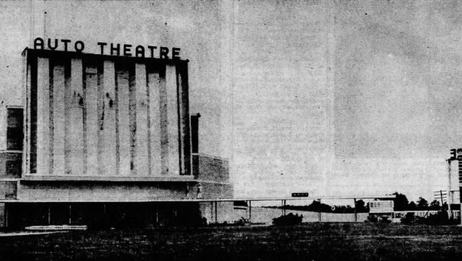 The Battle Creek Auto Theatre as it appeared in an advertisement in a June 20, 1948, issue of the Enquirer. It opened that year.