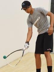 Akul Ramayani, 15, pictured practicing at Gold's Gym